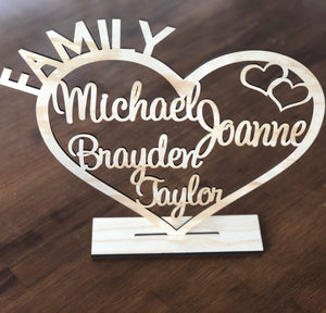 Timber Family Heart Sign - Silver Belle Design