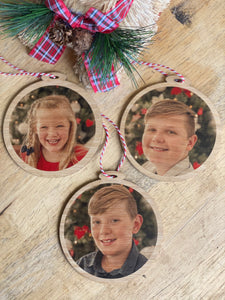 Personalised Photo Christmas Bauble - Silver Belle Design