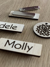 Timber Engraved Name Tags - Silver Belle Design
