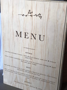 Timber Menu Sign Custom