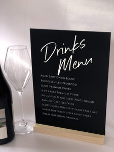 Acrylic Table Sign - A4 Size - Silver Belle Design