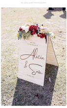 Wooden A-Frame Rustic Sign - Alicia - Silver Belle Design