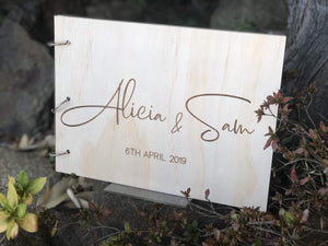 Guestbook Timber Rustic Natural Engraved
