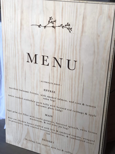Timber Menu Sign - Silver Belle Design