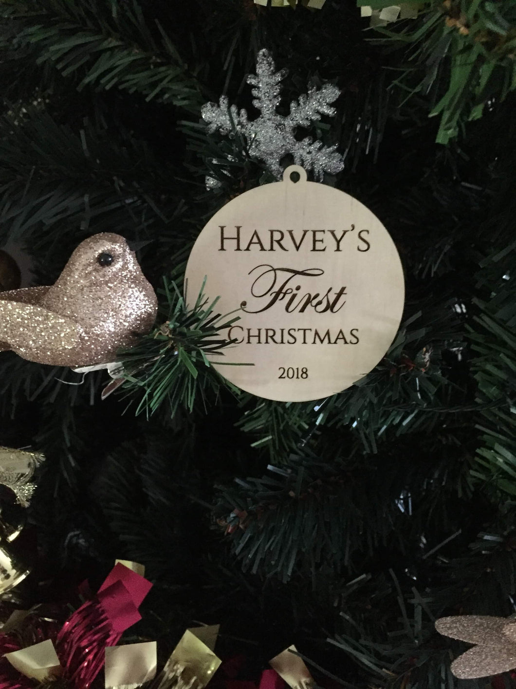 Personalised Christmas Bauble - Silver Belle Design