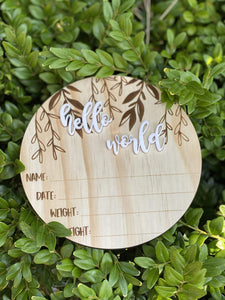 Hello World Baby Announcement Disc - Silver Belle Design