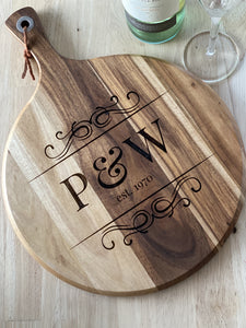 Design your Own - Engraved Chopping Board/Cheese Platter - Silver Belle Design