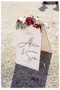 Wooden A-Frame Rustic Sign - Alicia - Custom Sign - Silver Belle Design - Silver Belle Design