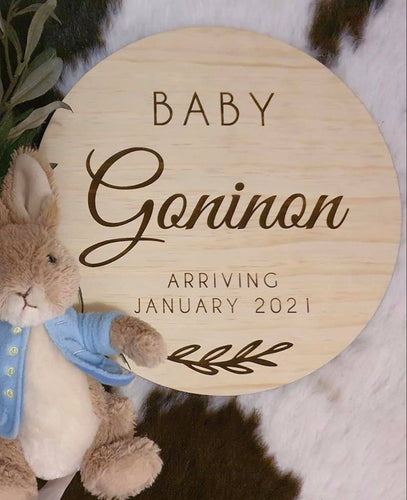 Baby Announcement Sign 'Baby Coming Soon' - Silver Belle Design