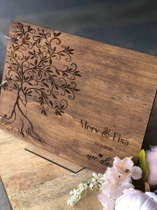 Guestbook Timber Rustic Walnut Stained & Engraved