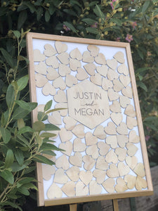 Wedding Drop Heart Frame - Ash Timber - Silver Belle Design