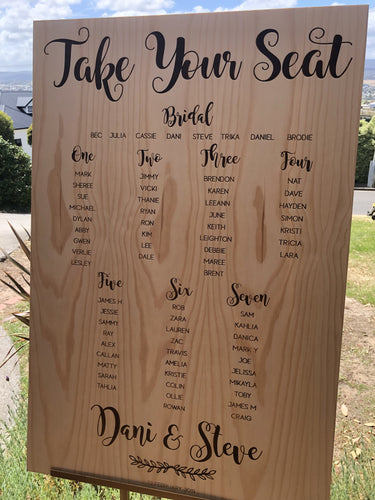 Wooden Table Seating Plan Sign - Dani Custom