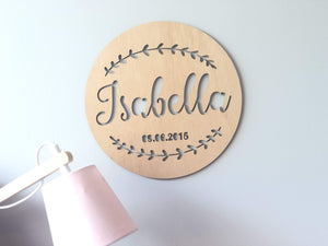 Wall Name Plaque - Silver Belle Design
