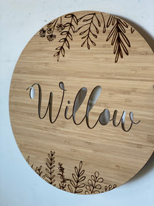 Name Plaque Cut Out Sign - Silver Belle Design