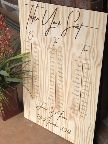 Wooden Table Seating Plan Sign - Alana Custom