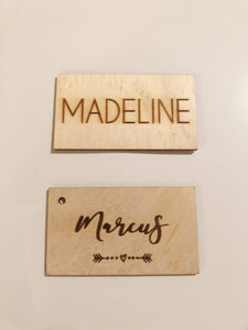 Solid Timber Place Name Tag Names