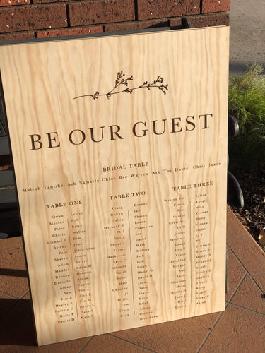 Wooden Table Seating Plan Sign - Rebecca Custom