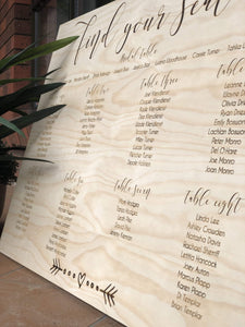 Timber Table Seating Plan Chart - Silver Belle Design