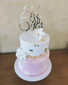Cake Topper - She Said Yes - Silver Belle Design