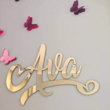 Script Wall Name Plaque - Silver Belle Design