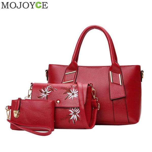3pcs/Set Fashion Women Handbag Embroider Flowers PU Leather Handbag Red Composite Bags Tote Elegant Female Crossbody Bags Clutch