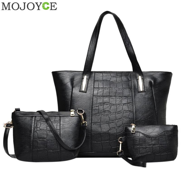 3pcs/Set Women Handbag Stone Pattern PU Leather Shoulder Bag Large Tote Bag For Women Famous Brand Ladies Shoulder Bags Handbags