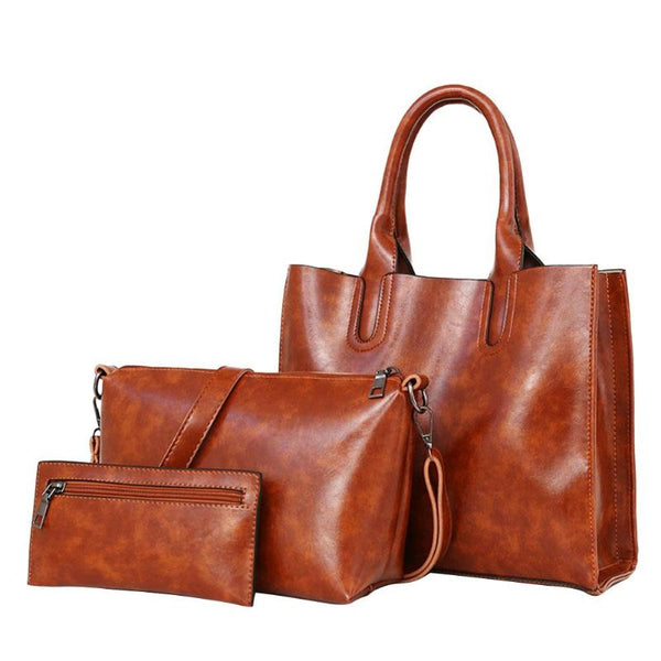 3pcs/set Women Fashion Shoulder Bag Soft PU Leather Handbag Famous Brand Women Composite Bags Bolsa Femina Top-handle Bags New