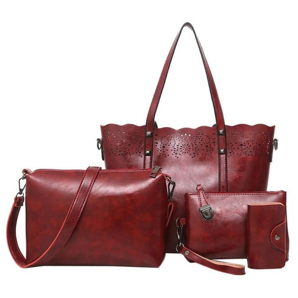 Fashion 4Pcs/Set Women Shoulder Bag Soft PU Leather Composite Bags Female Large Capacity Tote Bag Casual Shoulder Crossbody Bags