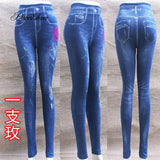 Fashion Slim Women Leggings Faux Denim Jeans Leggings Sexy Hole Heart Printing Casual Women Clothing Pencil Pants Plus size