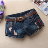 Summer Denim Shorts For Women Sexy Mini Shorts Women'S Rivet Holes Jeans Low Waist Shorts Without Belt Ripped Denim Short J2305