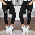 Nuojin New Skinny Jeans Women Shredded pants High Waist Pants Women Trousers Women Leggings Hole Sweatpants Black Ripped Jeans