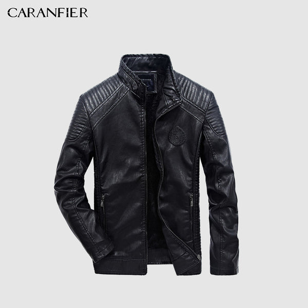CARANFIER Mens Leather Jackets Autumn Winter PU Coat Men Plus Velvet Outerwear Biker Motorcycle Male Classic Black Jacket M-5XL