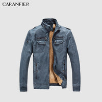 CARANFIER Mens Wash Leather Jackets Winter Men Faux Fleece Plus Thick Warm Coat Biker Motorcycle Male Classic Jacket Top Quality