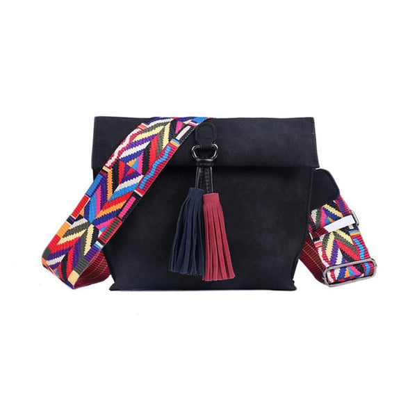 EXCELSIOR Hot Selling Star Top Quality Scrub PU Crossbody Bag Stylish Women's Bag Tassel Shoulder Bags with Colorful Strap G2090