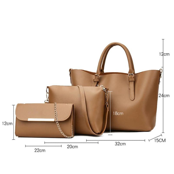 3pcs/Set Women Shoulder Bag PU Leather Long Chain Messenger Bags for Women Composite Bag Set Elegant Lady Party Tote Handbags