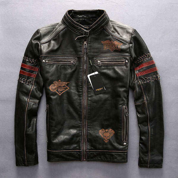 Men's Black Leather Motorcycle Jacket Stand Collar Genuine Short Slim Fit Biker Coat