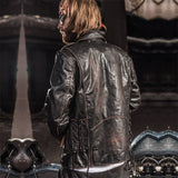 2019 Vintage Black Men's Biker Leather Jacket Diagonal Zipper Plus Size XXXL Genuine Cowhide Motorcyclist Jacket FREE SHIPPING