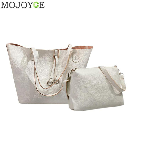 2Pcs Soft Leather Women Bag Set Luxury Brand 2018 Fashion Designer Female Shoulder Bags Big Casual Bags Set Handbag Solid Totes