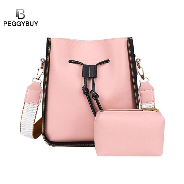 Women Bag 2Pcs/Set Top-Handle Big Capacity Female PU Handbag Girls School Shoulder Books Packs Ladies Crossbody Bag Bolsa Mujer