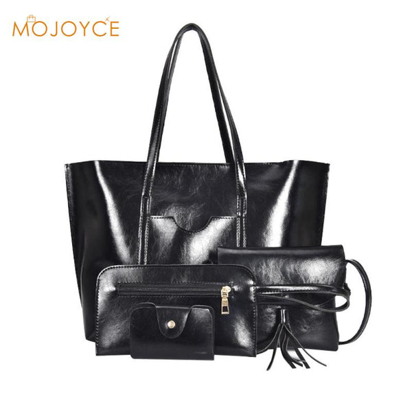 4pcs/set Fashion Women Shoulder Bags Female Crossbody Bags Shoulder Bags Totes Oil PU Leather Messenger Handbags Purse