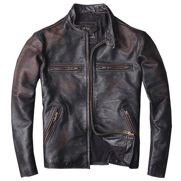 2019 Vintage Men Slim Fit Biker's Leather Jacket Plus Size XXXL Genuine Cowhide Spring Russian Short Leather Coat FREE SHIPPING