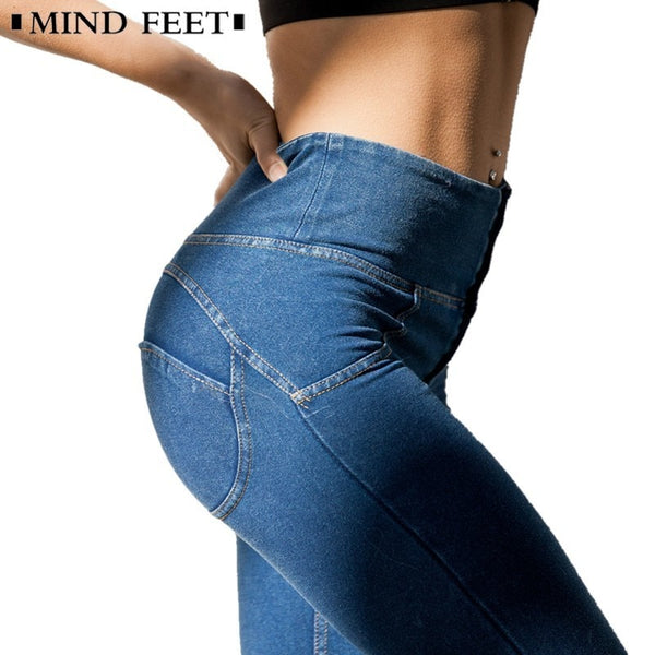 MIND FEET High Waist Slim Jeans Push Up Hip Denim Pants Women Elastic Fitness Leggings Female Spring Fitness Long Casual Pants