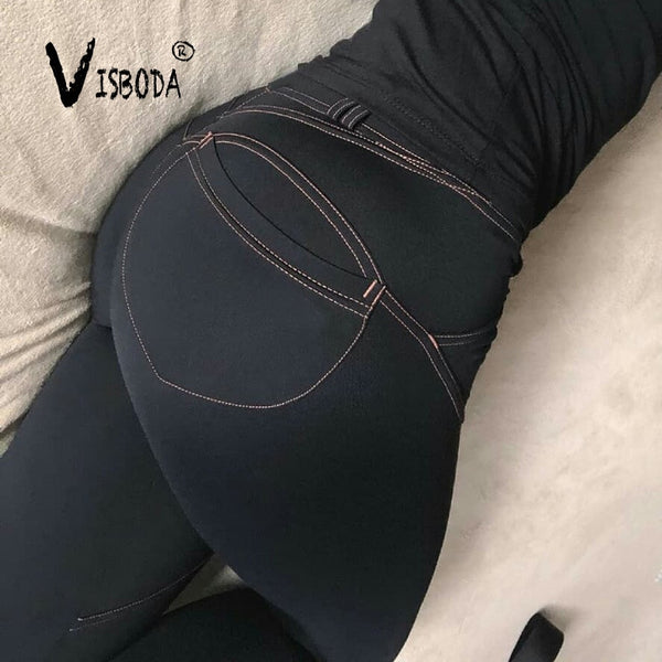 Women Casual Elastic Imitation Jeans Leggings Denim Blue Push Up Leggings Fashion Female Black Cotton Pocket Leggings Plus Size