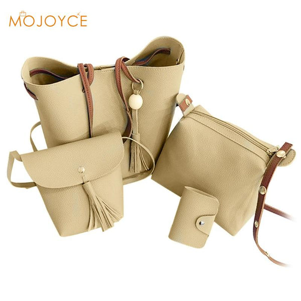 4pcs/set Tassel Bucket Shoulder Handbags Brand Designer Women Leather Card Holder Bags Fashion Bolso femenino New
