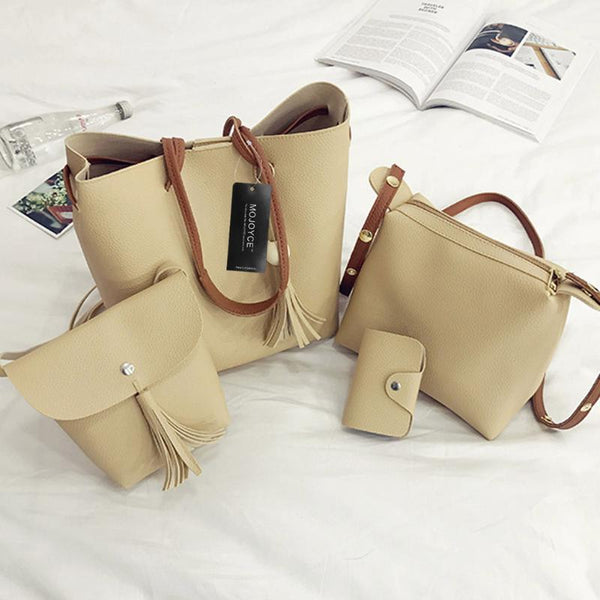 4pcs/Set Women Fashion PU Handbag Luxury Brand Women Tassel Shoulder Bag Soft Leather Top-Handle Bags Ladies Tote Handbags