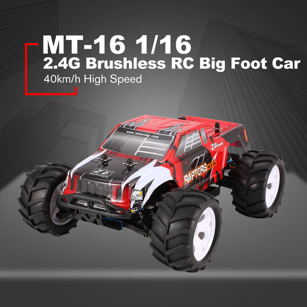ZD Racing MT-16 1/16 Scale 2.4G 40km/h High Speed Brushless Off-Road Truck Big Wheels Bigfoot RC Car Remote Control Kids Gift