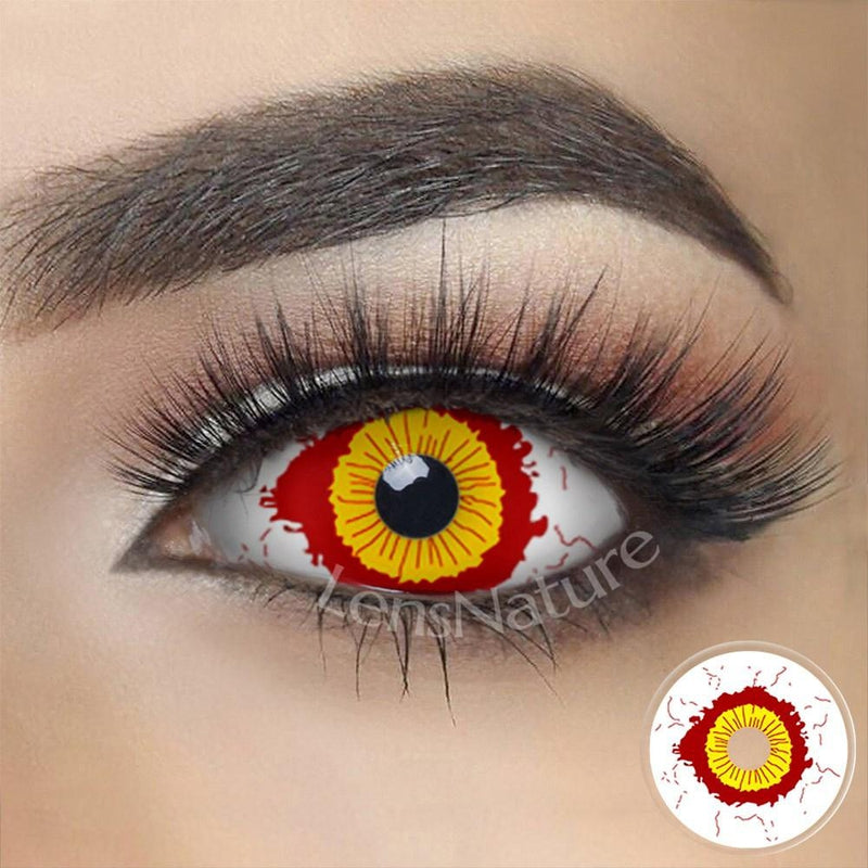 Fever Yellow And Red Sclera 22mm Cosplay (12 Month) Contact Lenses