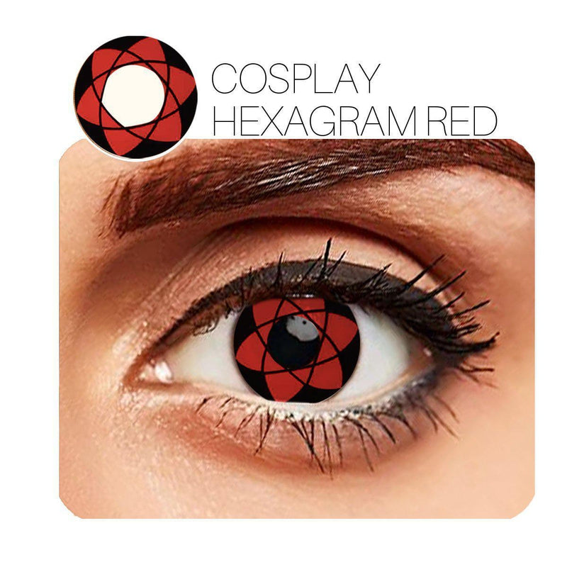 Hexagram Cosplay Red 14.5mm 1 Pair (12 Month) Contact Lenses