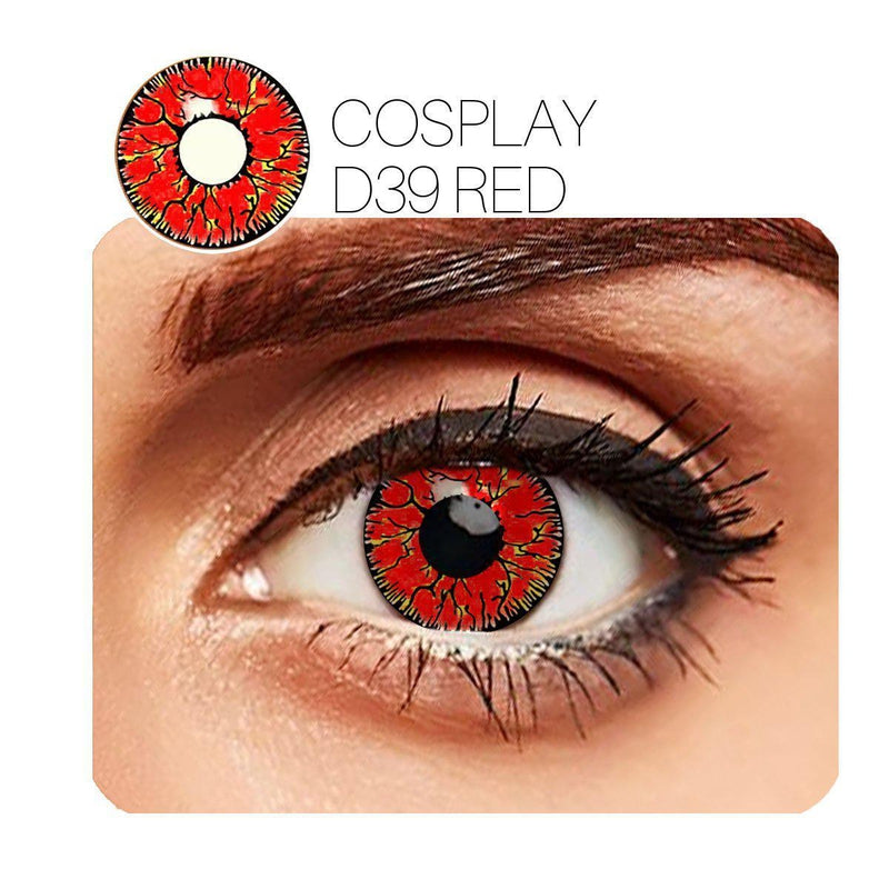 Crack Cosplay Red (12 Month) Contact Lenses - StunningLens