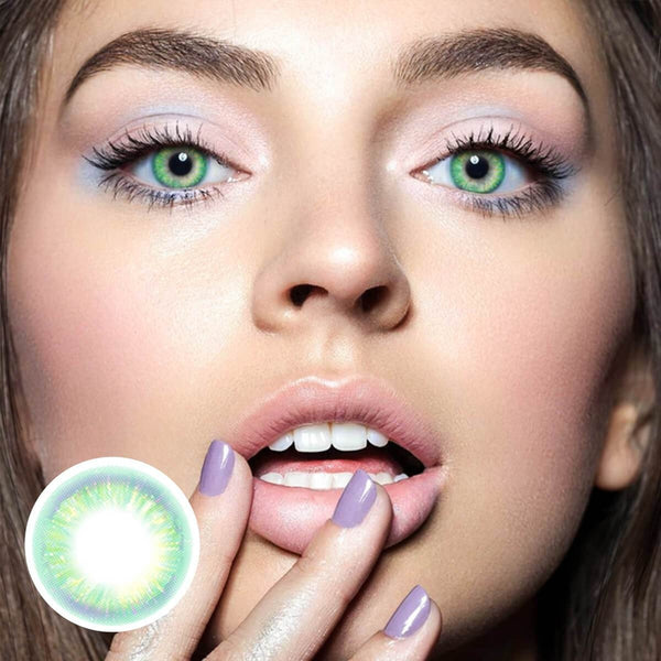 Rainbow Neon Green (12 Month) Contact Lenses - StunningLens